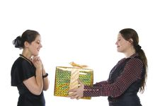 Free One Girl Make Present To Another Stock Images - 8400684