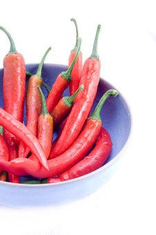 Free Red Chillis In Blue Bowl Royalty Free Stock Photos - 8401198