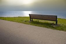 Wood Bench At The Garda Lake Royalty Free Stock Photos