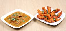 Fried Fish And Butter Chicken Royalty Free Stock Photos
