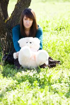 Free Young Woman With Sweet Teddy Bear Royalty Free Stock Photography - 8401807