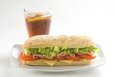 Delicious Sandwich Of Ham Cheese Lettuce Tomato Royalty Free Stock Photos