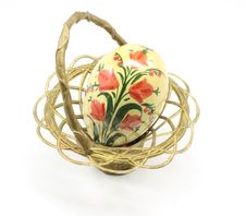 Free Antique Easter Egg And Basket Royalty Free Stock Photo - 8403625