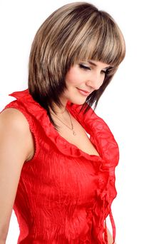 Free Young Woman In A Red Dress Stock Image - 8404011