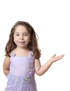 Free Beautiful Smiling Girl With One Hand Outstretched Stock Photography - 8404232