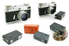 Free Set Of Film SLR Cameras Isolated Royalty Free Stock Photos - 8405608