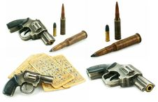 Set Of Guns, Bullets And Packs Of Card Isolated Royalty Free Stock Images