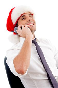 Young Caucasian Busy On Phone Call Stock Photo