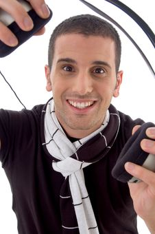 Free Smiling Man With Headphone Royalty Free Stock Photography - 8406807