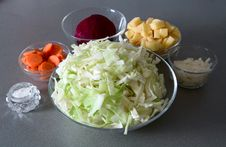 Free Cuted Potato, Onion, Beet, Carrot And Cabbage Royalty Free Stock Photos - 8406888