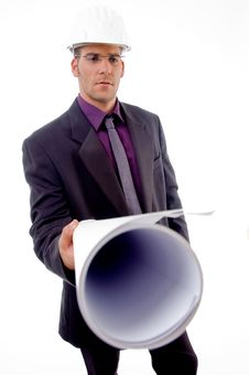 Free Handsome Young Architect Showing Blueprints Stock Photography - 8407132