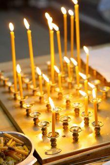 Row Of Burning Candles Stock Photo