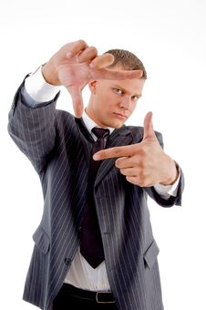 Free Young Professional Showing Framing Hand Gesture Stock Images - 8407744
