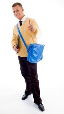 Free Young Student Standing With Books And Bag Royalty Free Stock Images - 8407889