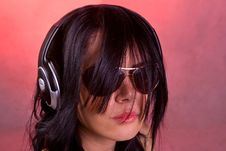 Free DJ Girl Listening Music In Headphones Stock Photography - 8407892