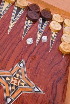 Free Wooden Handmade Backgammon Board Isolated On White Stock Photos - 8408343