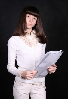 Girl With Papers Stock Images