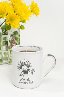 Free Secret Pal Coffee Cup With Flowers Stock Image - 8409581