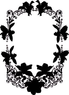 Free Black Orchid Flower Frame Stock Photography - 8409642