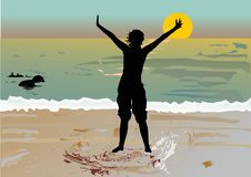 Free Girl Silhouette And Sea Sunset Royalty Free Stock Photography - 8409727