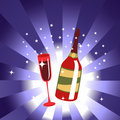 Free Wine Bottle And  Glass Royalty Free Stock Photo - 8411405