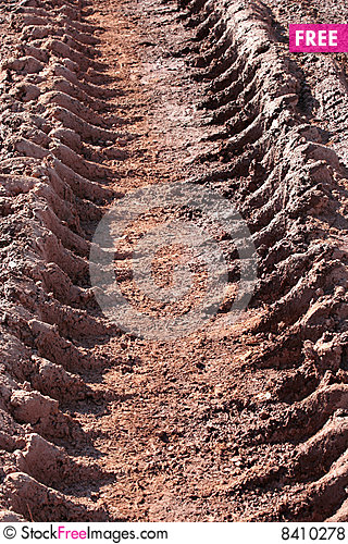 Mud tire track Stock Photo