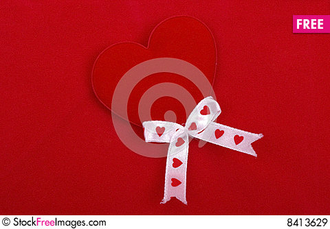 Free Red Heart On Red. Royalty Free Stock Images - 8413629