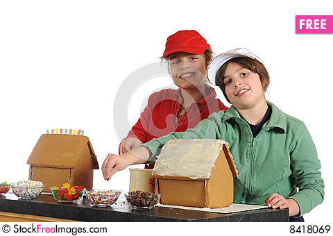 Making Gingerbread Houses Stock Photo
