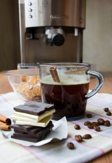 Free Cup Of Coffee, Chocolate, Sugar And Cinnamon Royalty Free Stock Image - 8410466