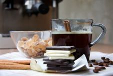 Cup Of Coffee, Chocolate, Sugar And Cinnamon Royalty Free Stock Photo
