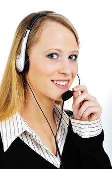 Free Friendly Customer Representative With Headset Royalty Free Stock Photos - 8410608