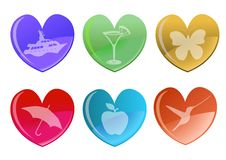 Free Hearts Icon Set. Royalty Free Stock Photos - 8411528