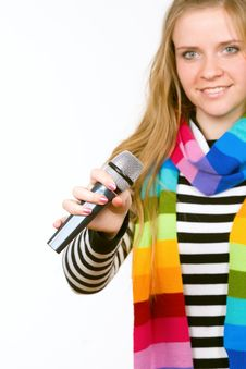 Pretty Female With Microphone Isolated Stock Photography