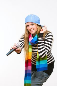 Pretty Female With Microphone Isolated Royalty Free Stock Image