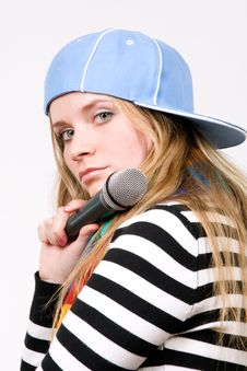 Pretty Female With Microphone Isolated Stock Images