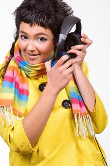 Free Attractive Young Woman With Headphones Over White Royalty Free Stock Images - 8412219
