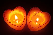 Free Two Burning Heart Candles Royalty Free Stock Image - 8412246