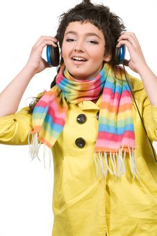 Attractive Young Woman With Headphones Over White Stock Photography