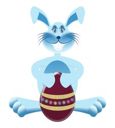 Free Blue Bunny With Easter Egg Royalty Free Stock Photos - 8412348
