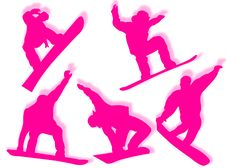 Free Snowboarders Silhouettes Stock Photos - 8412453