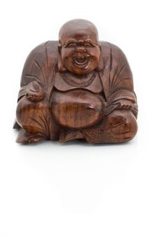 Free Smiling Wooden Buddha Stock Photography - 8412692