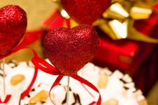 Cake With Valentine Hearts Royalty Free Stock Photo