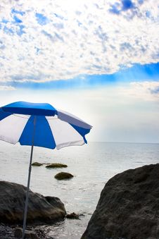 Free Marine Beach With Sun Umbrella Stock Images - 8413794