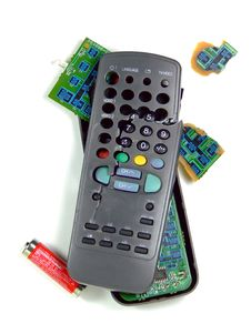 Smashed TV Remote Stock Photo