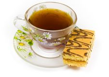 Free Cap Of Tea On Saucer With Cake Royalty Free Stock Photos - 8414288