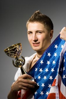 Winner With American Flag Royalty Free Stock Photo