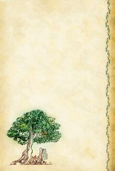 Old Sheet With A Picture As A Tree Stock Photo
