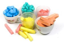 Several Colors Crushed Chalk In Tubes And Caps Stock Photo