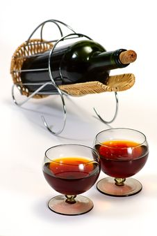 Free Wine Bottle In Basket Royalty Free Stock Image - 8414856