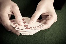 Free Playing Cards On A Green Cloth Stock Photo - 8415190